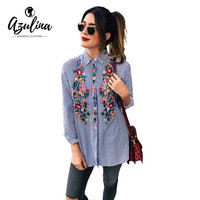 AZULINA Ethic Floral Embroidery Women Blouse Shirt Long Sleeve Blue Stripped Shirts Blusas Spring Autumn Fashion Female Tops