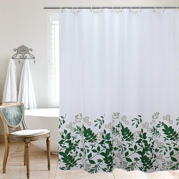 UFRIDAY White Fabric Shower Curtain, Waterproof Decorative Heavy Duty Bathroom Shower Curtain with Weighted Hem, Green Leaves, 72 x 75 Inches Light Green