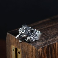 FNJ 925 Silver Wolf Ring New Fashion Animal Punk S925 Sterling Thai Silver Rings for Men Jewelry Adjustable Size