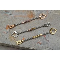 Tritons Spear Industrial Barbell Silver, Gold or Rose Gold