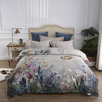 100% Egyptian Cotton US size Bedding Queen King size 4Pcs Birds and Flowers Leaf Gray Shabby Duvet Cover Bed sheet Pillow shams