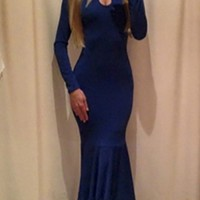 2015 New Free Shipping Sexy Backless Blue Maxi Dress Elegant Prom Dress Women Party Dresses 3S501D045