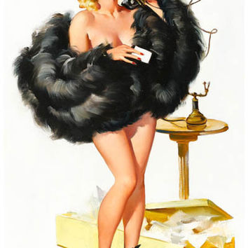 Pin-Up Girl on the Telephone Poster 11x17