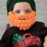 St Pattys day baby hat  - Baby Leprechaun  hat - Baby beard hat - st patricks day hat- Baby Hat with  Beard - Beard Beanie - Irish Baby gift