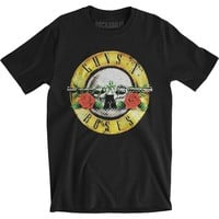 Guns N Roses Men's  Distressed Bullet Slim Fit T-shirt Black