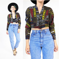 80s African Print Crop Top Tribal Abstract Print Blouse Midriff Cropped Shirt Dolman Long Sleeve Afropunk Festival Bolero Belly Top (XS)