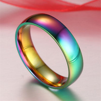 Rainbow Colorful Titanium Steel Rings Men/Womens Engagement Wedding Band+ Gift Box