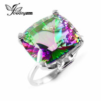 10.3ct High Quality Fire Mystic Topaz Ring  Solid 925 Sterling Silver