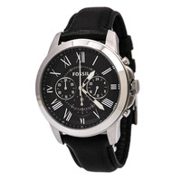 Fossil FS4812 Men's Grant Black Dial Black Leather Strap Chronograph Watch