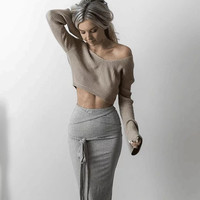 Winter Women's Fashion Long Sleeve Crop Top V-neck Pullover Tops Bottoming Shirt [9168430020]