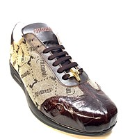 Mauri '54132' Brown Baby Crocodile + Nappa Leather Sneakers