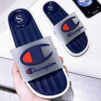 Onewel Champion Summer new product large size one word drag couple slippers slippers comfortable sandals navy blue Shoes