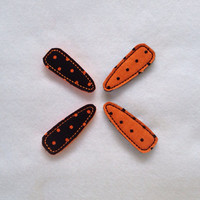 Orange and Black Polk A Dot Felt and Fabric Snap Clip Barrettes