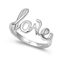 Sterling Silver Love Ring (Size 4 - 10) - Size 5