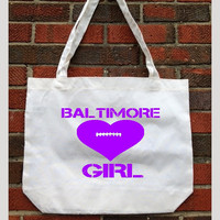 Tote bag. Baltimore Ravens. Baltimore Girl Football heart image. Cotton Tote. City. Maryland. Souvenir gift. Hometown Pride. Football Purple