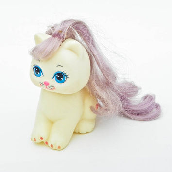 1989 Little Pretty Kitty - Bow - Dingy White Body - Sun Faded Purple Hair - Polished Paws - Vintage Mattel Kitten - 80s Toys
