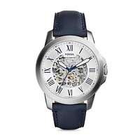 Grant Automatic Leather Watch, Navy & White | Fossil®