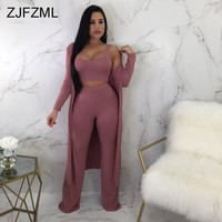 ZJFZML Autumn Winter 3 Piece Set Women O Neck Tank Crop Top+Long Wide Leg Pant+Full Sleeve Long Cardigan Casual Three Piece Sets