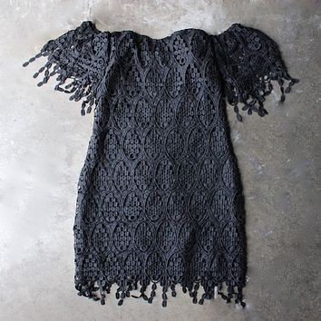 Final Sale - Off The Shoulder Fringe Crochet Bodycon Dress in Black