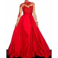Noble Ruffled Collar Long Sleeve See-Through Lace Splicing Women's Prom Dress