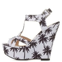 Palm Tree Print Strappy T-Strap Platform Wedges