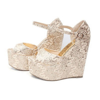 2017 Size 30-43 Fashion Golden Sexy Women Wedges Sandals High Heels Ladies Pumps Shoes Woman Summer Style Chaussure Femme 31 32