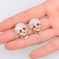LM-E019 Sparkling Crystal Skull Stud Earrings exaggerated personality trend ear jewelry