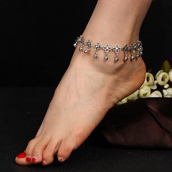 Vintage Silver Plated Beaded Anklet