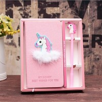 Cute Kawaii Unicorn Flamingo Notebook Gel Pen Set with Beautiful Gift Box Pink Unicorn Pen Diary Planner for Kids Stationery Set