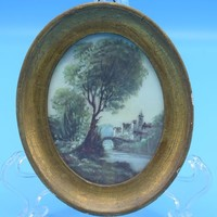 Italian Small Oval Gold Framed Picture Vintage Florentine Plaques Reproduction Made in Italy Landscape Artwork Gift for Her Wedding Decor