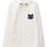 White Embroidery Cat Pattern Long Sleeve  Shirt