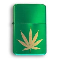 Laser Engraved Pot Weed Marijuana Leaf Vector KGM Thunderbird Vintage Lighter Gift Custom - Metallic Green Finish