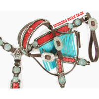 Red Croc Tack Set with Turquoise Fringe and Copper Patina Indian Chief Conchos by Running Roan Tack