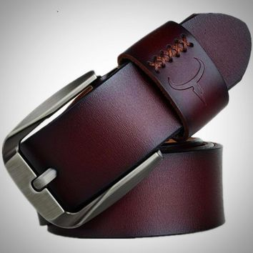 Vintage style pin buckle genuine cow leather belts for men
