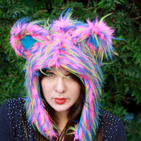 Gorgeous Premium Bright Pink Fluffy Fur Critter HOOD  - Cosplay - Kawaii - Burning Man - Halloween