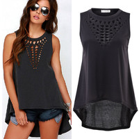 2015 Hot Sexy Women Retro Hollow Tank Tops Vest Top Sleeveless Casual Loose Shirt NS149