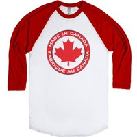 Made in Canada-Unisex White/Red T-Shirt