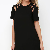 Shoulder Shrug Black Shift Dress