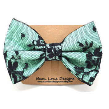 Mint and Black Lace Hair Bow Barrette