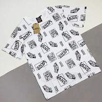 VANS Newest Fashionable Women Men Casual Print Round Collar T-Shirt Top White
