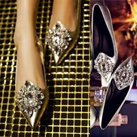 Pointed Toe Silver Rhinestone Summer Flat Shoes [4920469188]