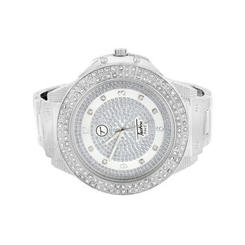 Mens Techno Pave White Watch Iced Out Bezel Simulated CZ Stainless Steel Back