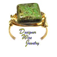 DWJ0578 Lovely Green Turquoise Picasso Czech Art Glass Wire Wrapped Ring All Siz