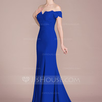 [US$ 162.00] Trumpet/Mermaid Off-the-Shoulder Court Train Chiffon Lace Bridesmaid Dress With Beading Sequins - JJsHouse