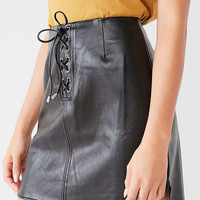 UO Faux-Leather Lace-Up Mini Skirt | Urban Outfitters
