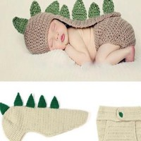 Cream And Green Dinosaur Knit Hat Outfit - CCA56 - LAST CALL
