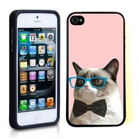 iPhone 5 5S Case ThinShell TPU Case Protective iPhone 5 5S Case Shawnex Hipster Grumpy Cat Geek Glass Bowtie