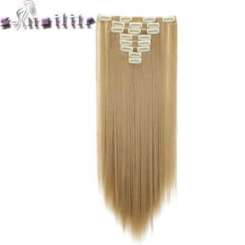 """S-noilite 24"""" 8 Pieces/set Long Striaght 180g Clip in on Natural Hair Extensions Full Head Real Synthetic 18 Clips ins for human"""