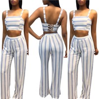 White and Blue Striped Crop Top and Pant Set