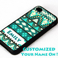 Customized Aztec tribal pattern iPhone 4 and iPhone 4S Case,Rubber Material Full Protection